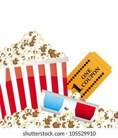 pop corn with 3d glasses and ticket. vector illustration
