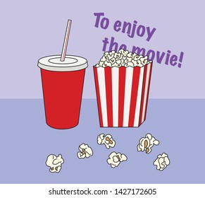 pop corn and beverage. theater snack. hand drawn style vector design illustrations.