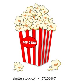 Pop corn in large striped paper box. Fast cinema meal. Popcorn in white red bucket isolated on white background advertise
