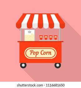 Pop corn street shop icon. Flat illustration of pop corn street shop vector icon for web design