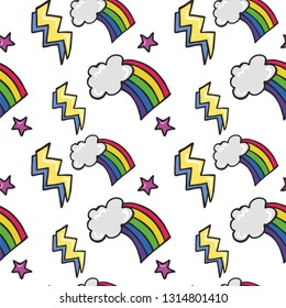 Pop Dazzle Wow 3 - seamless vector pattern of cartoon rainbows, clouds, lightning bolts and stars...hand drawn in fantastic bright tones!