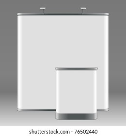 Pop up display with promotion counter table. Vector illustration Eps 10.