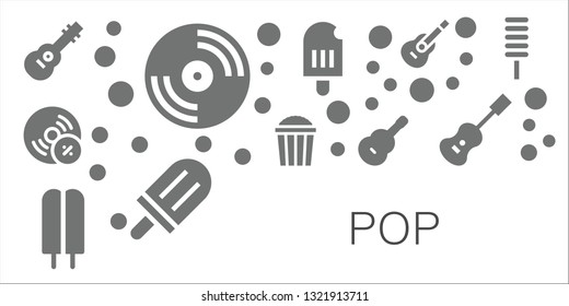 pop icon set. 11 filled pop icons.  Collection Of - Guitar, Vinyl, Vynil, Popcorn, Popsicle, Acoustic guitar