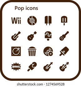 pop icon set. 16 filled pop icons. Simple modern icons about  - Wii, Vinyl, Popsicle, Guitar, Turntable, Popcorn, Vynil, Comic