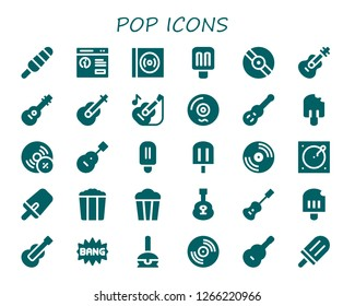 pop icon set. 30 filled pop icons. Simple modern icons about  - Popsicle, Pop up, Vinyl, Guitar, Vynil, Turntable, Popcorn, Acoustic guitar, Comic, Cake pop