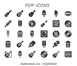 pop icon set. 30 filled pop icons.  Simple modern icons about  - Guitar, Popsicle, Comic, Vinyl, Acoustic guitar, Turntable, Vynil, Popcorn