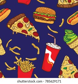 pop junk food seamless pattern