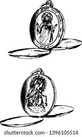 Pop Up Locket is a small ornamental case vintage line drawing or engraving illustration.