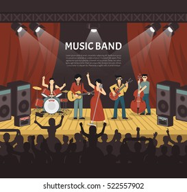 Pop music band flat vector illustration with musicians on stage and silhouettes of young audience coming to concert