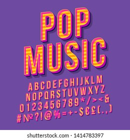 Pop music vintage 3d vector lettering. Retro bold font, typeface. Pop art stylized text. Old school style letters, numbers, symbols, elements pack. 90s, 80s poster, banner. Purple color background