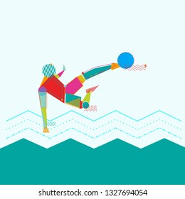 pop picture design about a soccer player who is doing a bicycle kick to score goals, abstract design, poster design