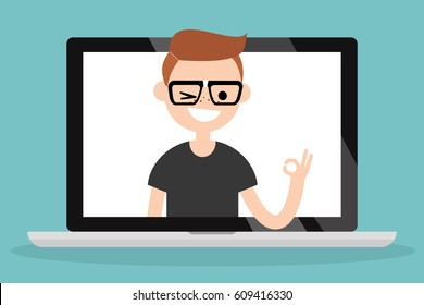 "Pop up portrait of smiling winking nerd saying ""ok"" / Flat vector illustration"