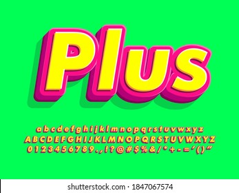 Pop poster font template for headline text effect. Red and yellow alphabet with bright green background. 3d extrude font with shadow and soft edge. Alphabet, number and symbol