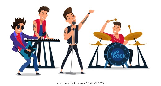 Pop rock band flat vector illustration. Young musicians, performers cartoon characters. Boys groupe performing live on stage. Music show, club party, entertainment. Artists playing instruments