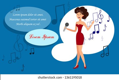 Pop Singer Concert Flat Vector Banner Template. Singing Vocalist, Jazz Performer with Microphone Color Cartoon Character. Talented Lady Performance. Concert, Party Poster Design Layout