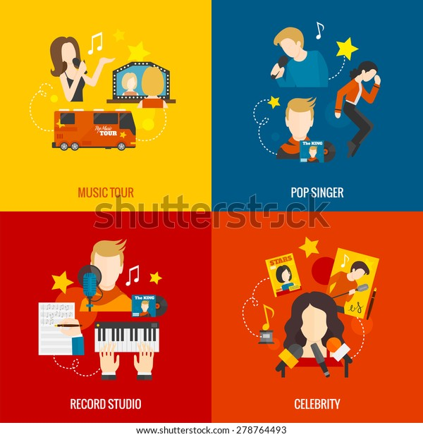 Pop singer design concept set with music tour record studio celebrity flat icons isolated vector illustration