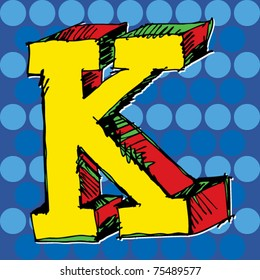 pop-art alphabet, hand drawn letter K