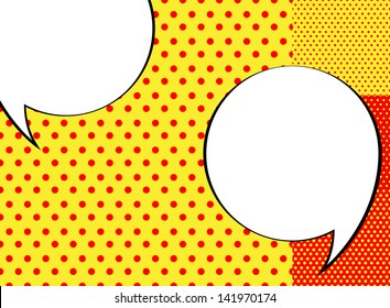 Pop-art background + speech bubbles