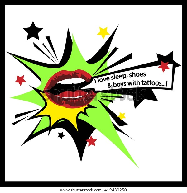 Popart Comics Lips Cool Pattern Stock Vector Royalty Free 419430250