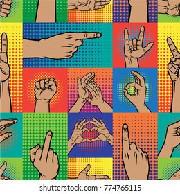 Popart hands fingers vector gesture human symbols hands different pop art handle pose signal illustration seamless pattern background