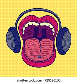 Pop-art music singing mouth with headphones
