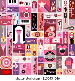 Pop-art musical collage with many various images, vector illustration. Can be used as seamless background.