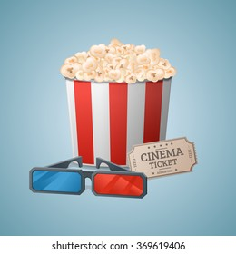 Popcorn, 3d-glasses, ticket. Vector illustration.