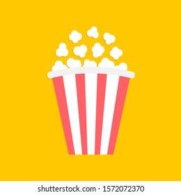 Popcorn. Big red white strip box. Cinema movie night icon. Pop corn food. Flat design style. Yellow background. Isolated. Vector illustration