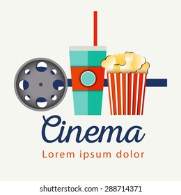 Popcorn bowl, film strip and ticket. Cinema attributes. Detailed vector illustration. Good time