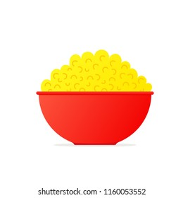 Popcorn in bowl icon. Food clipart isolated on white background