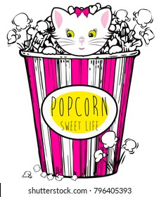 Popcorn box with cute cat