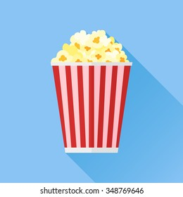 Popcorn box flat style icon isolated on blue background. Vector illustration.