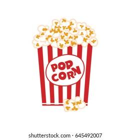 Popcorn box isolated on white. Vector illustration