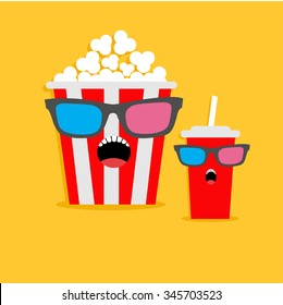Popcorn box and soda glass Screaming characters in 3D glasses. Cinema icon Flat design style. Vector illustration