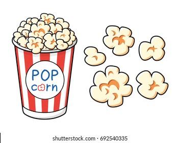 Popcorn bucket box vector icons set isolated