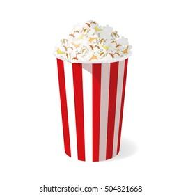 Popcorn bucket isolated on white background. Vector illustration.