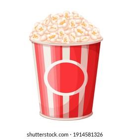 Popcorn bucket vector illustration. Big portion popcorn. Cardboard or paper bucket. Cinema snack or movie food. Popcorn