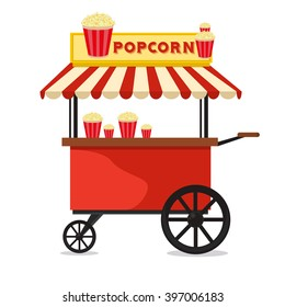 Popcorn cart carnival store and fun festival popcorn cart. Popcorn cartoon cart delicious tasty retro car. Candy corn container seller cart. Popcorn cart snack food market flat vector illustration.