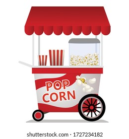 Popcorn cart icon. Cartoon of popcorn cart vector icon for web design isolated on white background