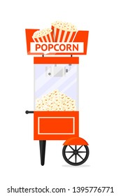 Popcorn cart, machine flat vector illustration. Traditional movie snack dispensing automaton with sign board. Takeaway service. Delicious fast food vending stand. Cinema isolated design element