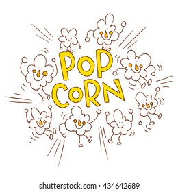 Popcorn cartoon characters and lettering design