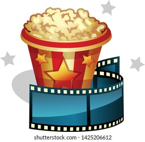 Popcorn and cinefilm. Isolated icon for movie time.