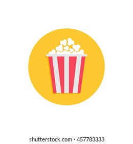 Popcorn. Cinema round circle icon in flat design style. Movie cinema. Tasty food. White background. Isolated. Vector illustration