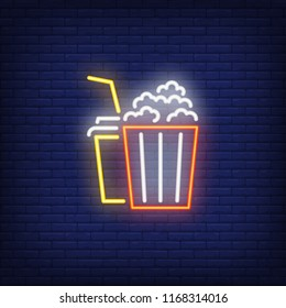 Popcorn and coke neon sign. Luminous signboard with cinema snacks. Night bright advertisement. Vector illustration in neon style for movie night, date, food