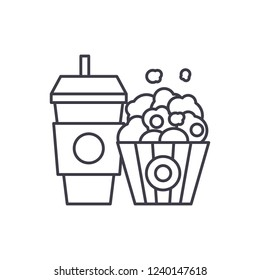 Popcorn and cola line icon concept. Popcorn and cola vector linear illustration, symbol, sign