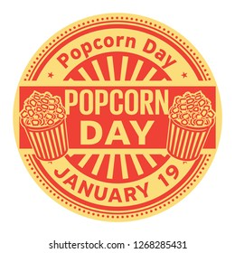 Popcorn Day,  January 19, rubber stamp, vector Illustration