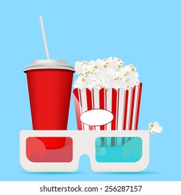 Popcorn, a drink and 3 D glasses for cinema - vector drawing isolated on blue background