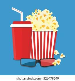 Popcorn and drink. Film strip border. Cinema movie night icon in flat design style. Bright background. Vector illustration