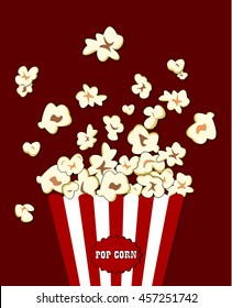 Popcorn exploding inside the red white striped packaging. Vector cinema food. Container with overflowing maize