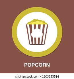 popcorn flat icon - cinema theater Symbol - Vector entertainment illustration Isolated - popcorn snack Sign